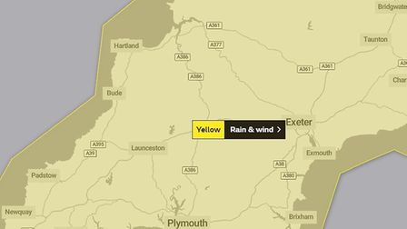 The weather warning for Friday, October 2. Picture: The Met Office