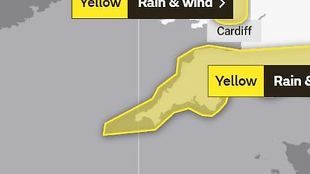 The Met Office has issued a yellow weather warning for wind and rain across the South West for Friday, October 2.