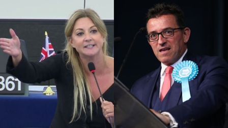 A row has broken out between Brexit Party MEPs Alexandra Phillips and Lance Forman, pictured here in