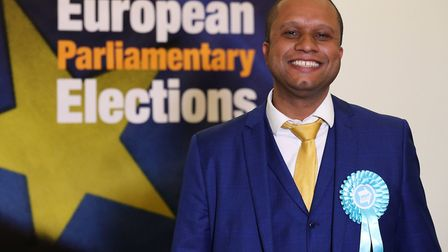 Former Brexit candidate Louis Stedman-Bryce during the European Parliamentary elections count at the