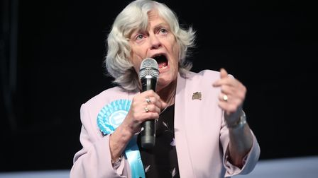 Ann Widdecombe, seen here during a Brexit Party rally, has leapt to the defence of a former Nazi con