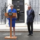 Theresa May, accompanied by her husband Philip, after the 2017 general election. Photograph: Jonath