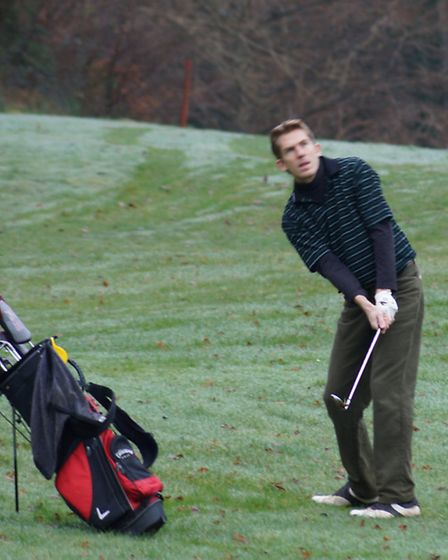Sunday's winner Simon Knowles chips to the 14th green on his way to a winning 68 points.