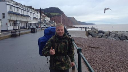 Christian Nock, 38, who is currently attempting to walk the entire coast of Great Britain while slee
