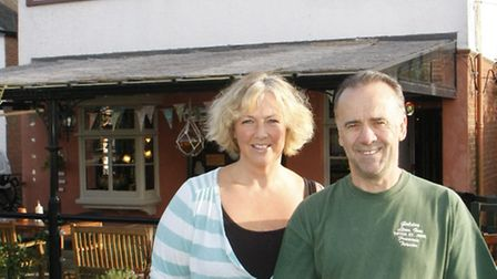 Franky and Michelle Teissier, owners of the Golden Lion Inn in Tipton St John.
