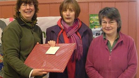 Maureen Fairley, Beatrix Godfrey and Jill Dixon from Sustainable Ottery with Penny Hopkins of the Un