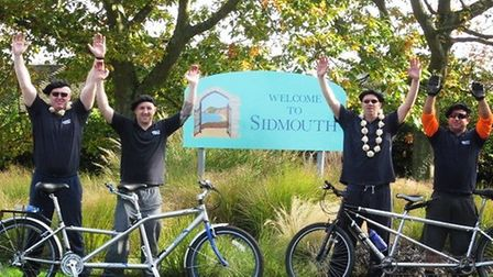 Tony Quinn and pals cycled to Sidmouth for charity