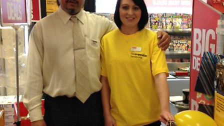 ref shs yellow co-op. Mick Alphonse, Store Manager of the Sidmouth Co-Op with Kelly Stamp (Customer