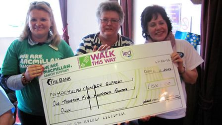 Gill Ruddick from East Devon Walk this Way, presenting a cheque to two Macmillan Nurses.