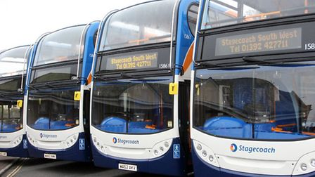 The new fleet of stagecoach buses at a launch in Sidmouth on Tuesday. Photo by Terry Ife ref shs 637
