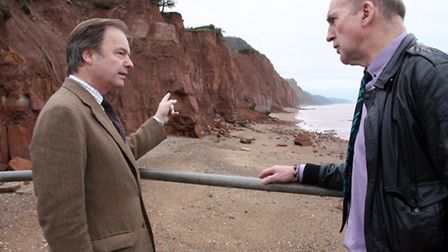 Local MP Hugo Swire with Stuart Hughes at Pennington Point to discuss the future of Sidmouth's cliff