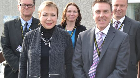 Julie Capewell (front left) with other members of the senior leadership team: Ish Wenss, Sally Chapm