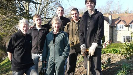 Mike Ruiter (centre) with Jim Anderson, Tom King, Clair Anderson, gardener Tony Hicks and Anton Ashc
