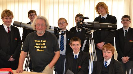 Students from Sidmouth College's Gifted and Talented programme at the Norman Lockyer Observatory wit