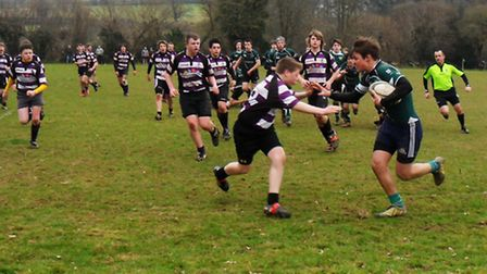 Sidmouth Under-15 rugby versus Exmouth in a Plate match