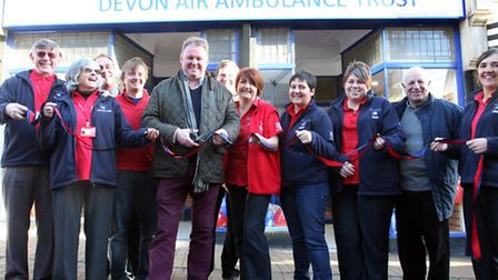 Debbie Collingwood the Manager of the new Devon Air Ambulance shop in Church Street with BBC's Radio