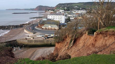 A view of the eroded cliffs from one of the gardens in Cliff Road Sidmouth. Photo by Terry Ife ref s