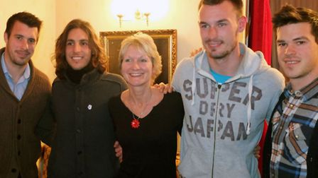 Sue Chapman with four of the players