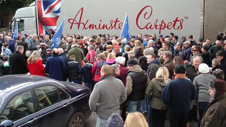 Axminster Carpets workers and their families during their rally outside the Guildhall before the red