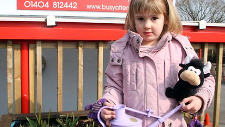 Freya Bailey aged four who attends Busy Otters Pre-School helped her dad Martin and granddad Frank t