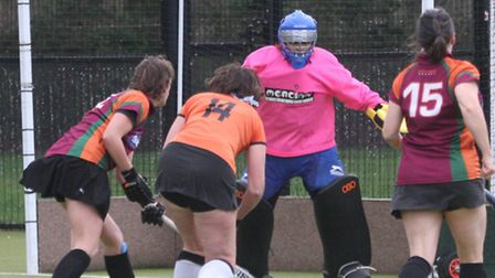 Sidmouth & Ottery ladies thirds against Sidmouth & Ottery 4 (orange tops). Photo by Terry Ife ref sh