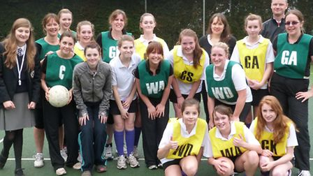 Staff and senior girls took part in a netball match at St John's