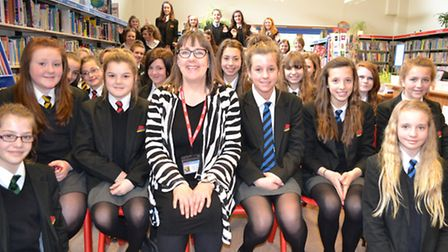 Author Helena Pielichaty with Sidmouth College girls