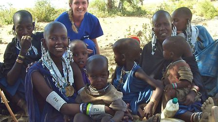 Tess Pearce with the Masai tribe