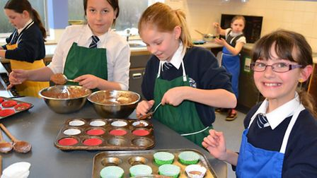Sidmouth Primary pupils in their baking lesson at Sidmouth College