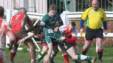 Sidmouth chiefs at home to Barnstaple in the Devon senior cup. Photo by Terry Ife ref shsp 9549-12-1
