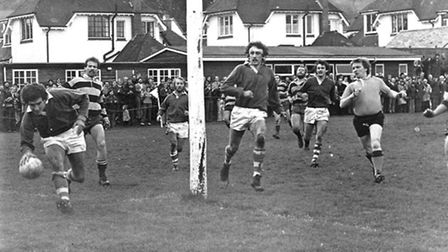 Sidmouth's Nick Cousins scoring a try against St Luke's College in the 1978 County Cup semi-final. N
