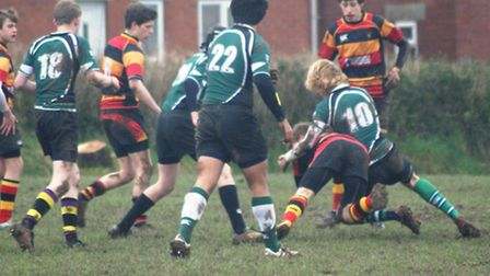 Sidmouth U15 rugby action versus Honiton
