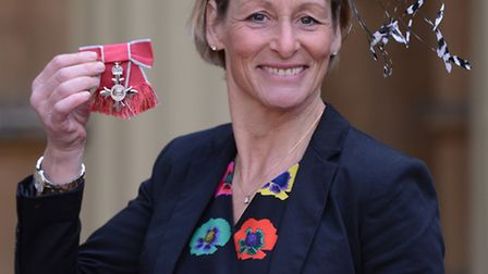 Equestrian and Olympian Mary King at Buckingham Palace in London today where she received an MBE. PR