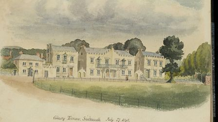 Peter Orlando Hutchinson's painting of Coburg Terrace, Sidmouth