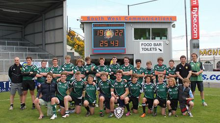 The Sidmouth Under-14 squad and coaching staff at Sandy Park for the Devon Cup Final