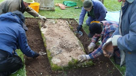 The Branscombe Project members at work in the village's churchyard