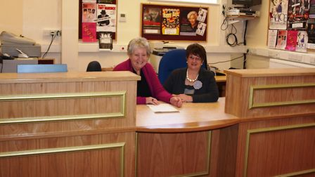 The bright new box-office that formed part of the refurbishment programme: Ready to help are Joan He