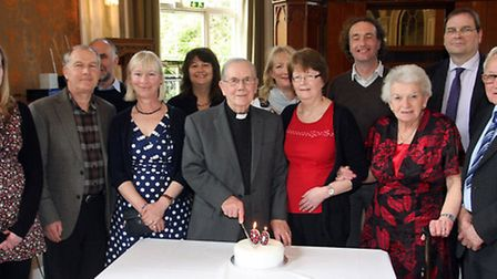 The Reverend Alan Bowers with family and friends on his 90th birthday. Photo by Terry Ife ref shs 03
