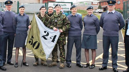 Tom and Alex were greeted by several cadets and members of staff from their home squadron at the end