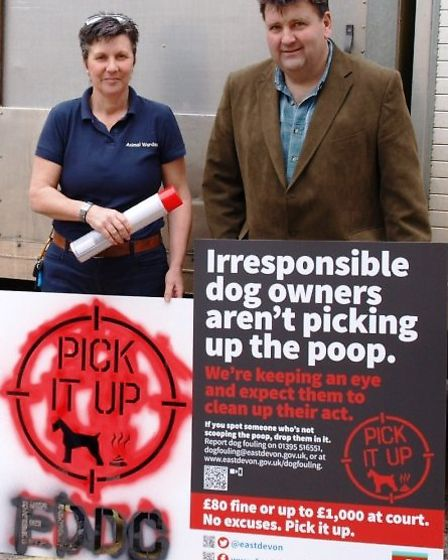 Councillor Iain Chubb and EDDC dog warden Amanda Lindfield with a message for irresponsible dog o