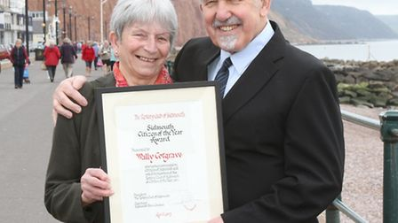 The Sidmouth Citizen of the year Wally Cotgrave pictured with his wife Maureen. Photo by Simon Horn.