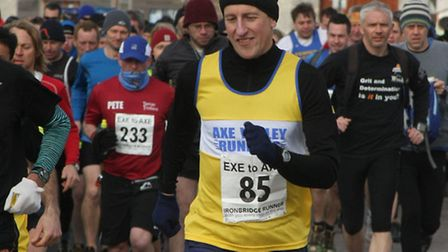 One of the Axe Vale Runners at the start of the Exe to Axe run in Exmouth on Sunday morning. Photo b
