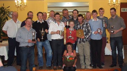 The Beer and District Sea Angling Association members with trophies at their 2013 Awards Evening.