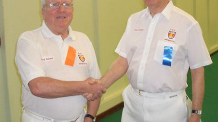 Sidmouth Bowls Indoor men's singles finalists Ray Tallent and Bob Seldon.