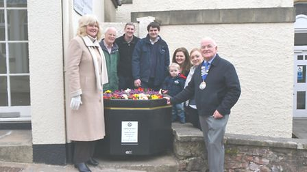 Members of the late Tony Aboot's family, including wife Viv and sons Chris and Jeff, with Ottery may