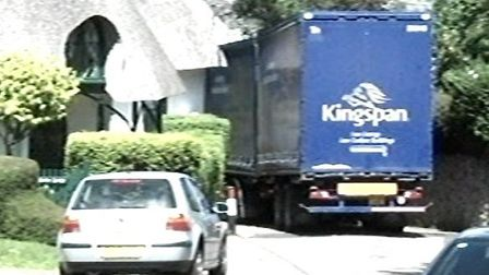 A lorry going through Cotmaton Road in Sidmouth. A concerned resident said the proposed footbridge p