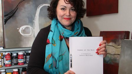 Shelley Griffiths pictured in her studio with the screenplay that has seen her semi-retire from art.