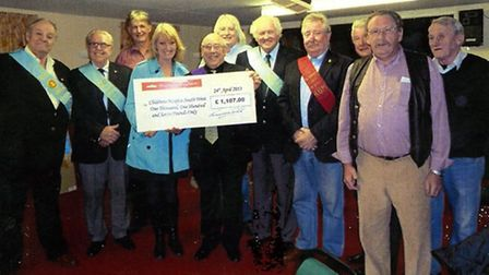 Brothers of Ye Rattenbury Lodge Beer presenting their cheque to Children's Hospice South West