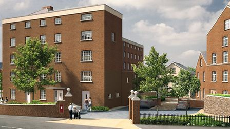 An artist's impression of what Ottery's factory site would look like if plans for 100 homes are appr