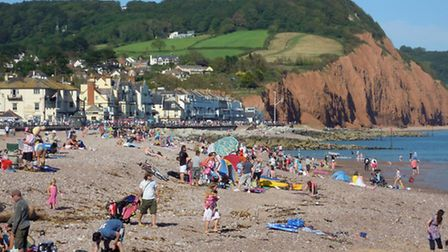 Sidmouth Beach In Summer.